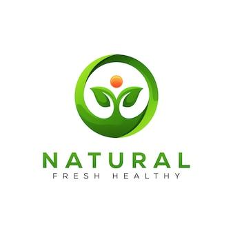 Logo di pianta fresca naturale, logo foglia di erbe mediche sano, modello di progettazione di logo foglia persone