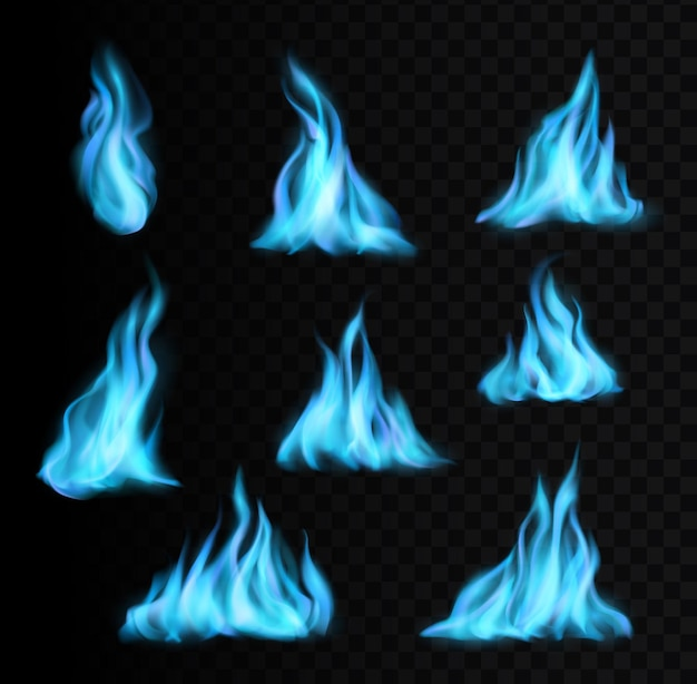 Fiamme blu che bruciano gas naturale e icone vettoriali realistiche di luce di fuoco o fiammata di energia. fiamme di fuoco blu a gas o fornello con effetto bagliore, razzi naturali o palle di fuoco blu