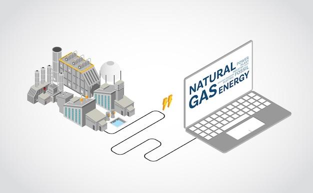 Energia a gas naturale, centrale elettrica a gas naturale con grafica isometrica