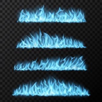 Gas naturale, realistiche scie di fuoco blu, lunghe lingue ardenti. fiamme vettoriali, effetto fiammata magica che brucia, bordi luminosi e luminosi. elementi di design del fuoco isolati su sfondo trasparente 3d set