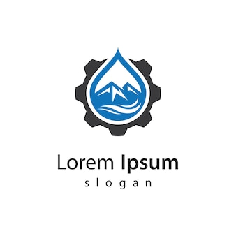 Illustrazione di progettazione di logo di ingranaggio naturale