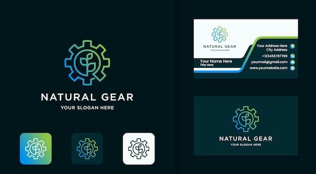 Logo dell'ingranaggio naturale, foglia dell'ingranaggio e design del biglietto da visita