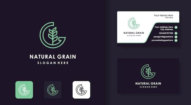 Design del logo del grano o del grano naturale e design del biglietto da visita