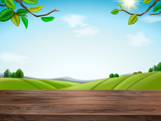 Illustrazione di sfondo campo verde naturale Vettore Premium