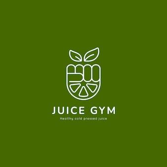 Logo del succo di palestra sano naturale con il pugno della mano e l'illustrazione dell'icona della fetta di limone