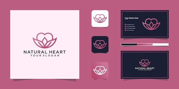 Stile di arte di linea logo cuore naturale e biglietto da visita