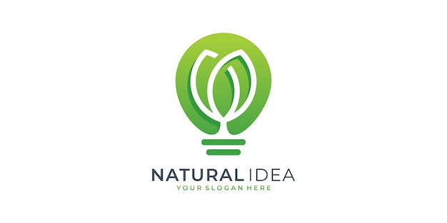 Idea naturale foglia logo design template. albero, idea, intelligente, lampadina, crescita.