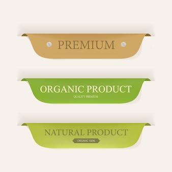 Etichetta naturale e etichetta biologica colore verde e pelle. design vintage etichette e distintivi.