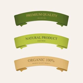 Etichetta naturale e nastro verde di colore verde