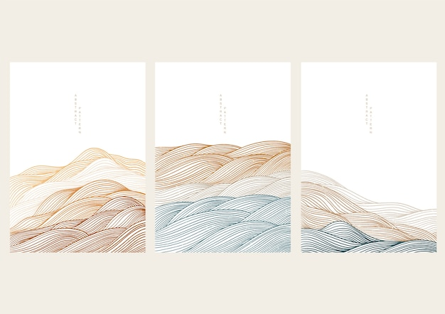 Sfondo paesaggio naturale con onda giapponese. foresta di montagna con modello astratto. design della bandiera del modello di linea.