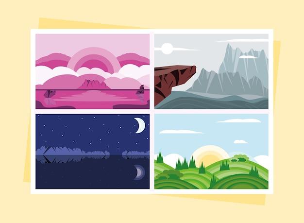 Insieme del fumetto del paesaggio naturale