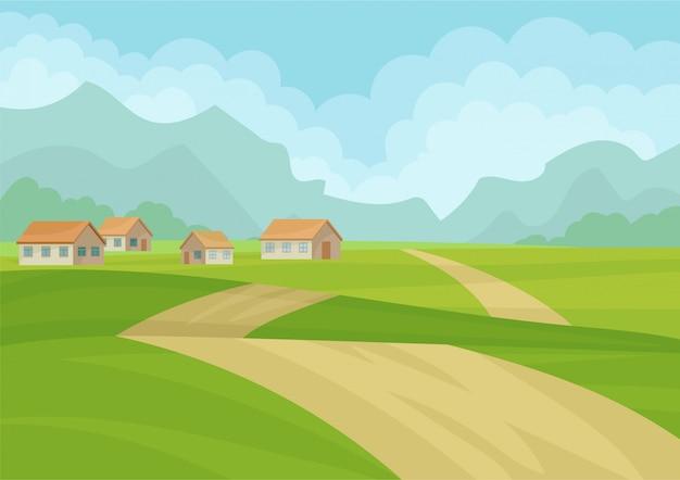 Paesaggio naturale con case, strada di terra, prati verdi e montagne