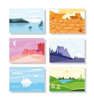 Set di scene di paesaggi naturali
