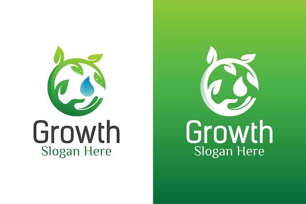 Cura naturale delle foglie e logo ecologico della goccia d'acqua.