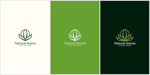 Logo foglia naturale con design del concetto di loto foglia di lusso design del logo foglia organica