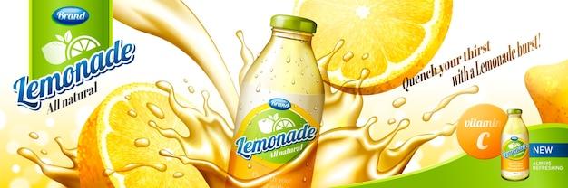 Succo di limonata naturale con spruzzi di liquido e frutta a fette nell'illustrazione, contenitore per bottiglie di vetro