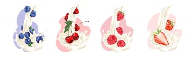 Flusso di latte naturale con mirtilli succosi, ciliegia, lampone e fragola, dieta vitaminica, set di bevande biologiche dolci