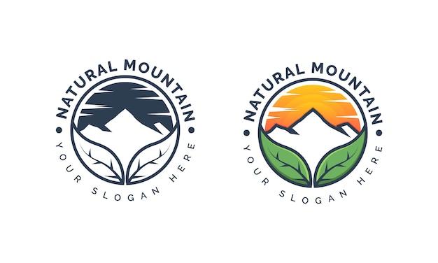 Logo natural mountain per avventura e design del logo all'aperto