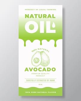 Olio naturale abstract vector packaging design o modello di etichetta. tipografia moderna, gocce sfumate e layout di sfondo sagoma schizzo disegnato a mano e avocado. isolato.