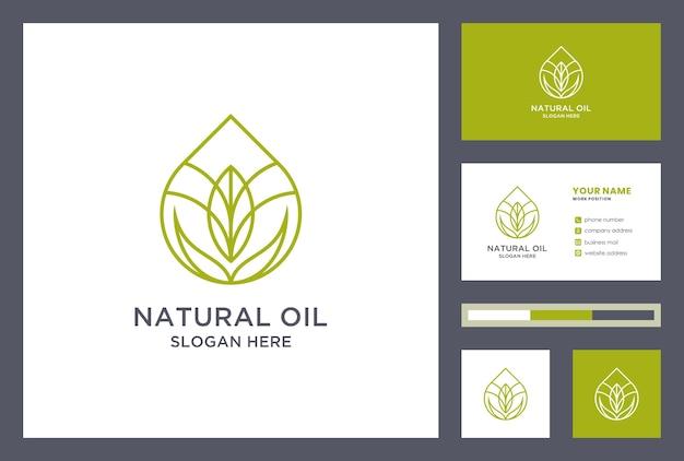 Design del logo olio naturale con modello di biglietto da visita. ispirazione logo goccia di olio. icona di foglia d'acqua creativa.
