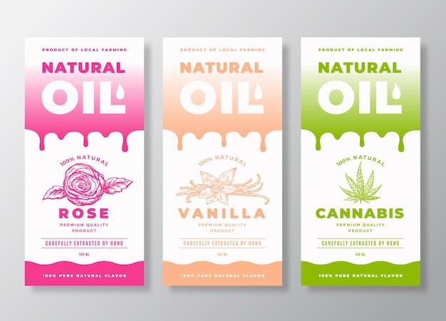 Raccolta di modelli di etichette o imballaggi di olio naturale.