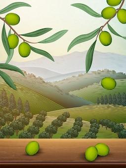 Scena di frutteto naturale, foglie di ulivo e tavolo in legno con ampio campo in stile incisione