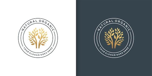 Modello di logo biologico naturale, unico, emblema,