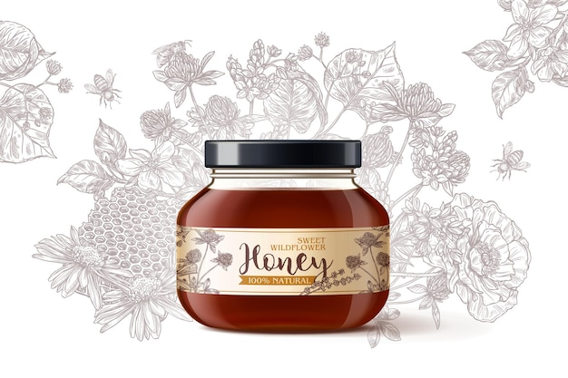 Miele millefiori biologico naturale in vaso di vetro 3d realistico con fiori di incisione disegnati a mano dell'annata su priorità bassa bianca