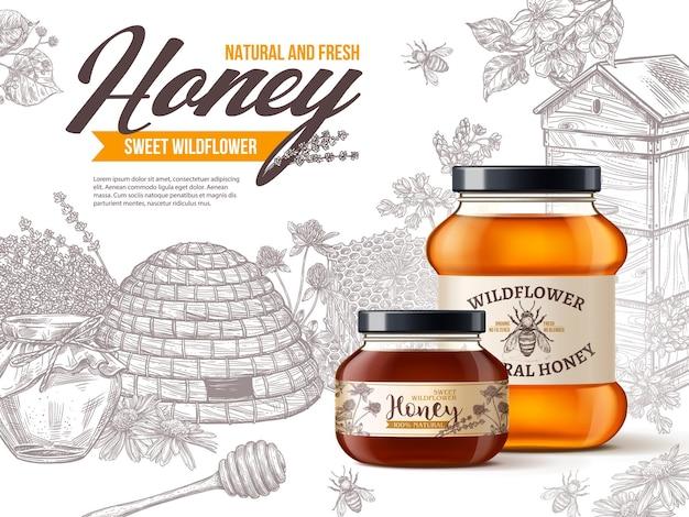 Miele millefiori biologico naturale in barattoli di vetro 3d realistici con fiori di incisione disegnati a mano vintage