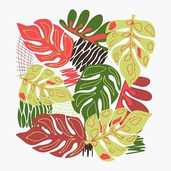 Modello naturale foglia monstera forme astratte e foglie su uno sfondo marrone disegno a mano