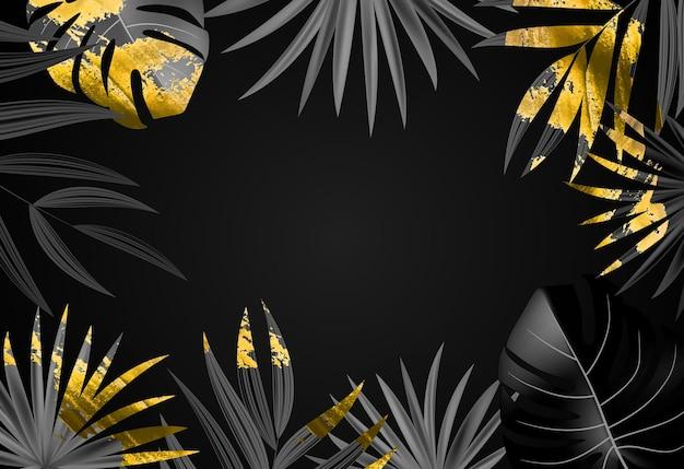 Fondo tropicale di foglia di palma nero e oro realistico naturale.