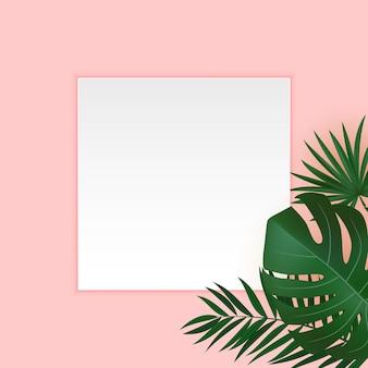 Fondo tropicale di foglia di palma verde e oro realistico naturale con cornice bianca vuota.