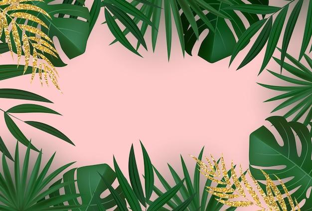 Fondo tropicale di foglia di palma verde e oro realistico naturale.