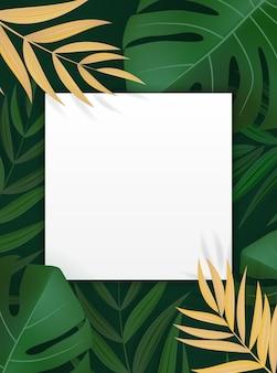 Cornice tropicale di foglia di palma verde realistico naturale.