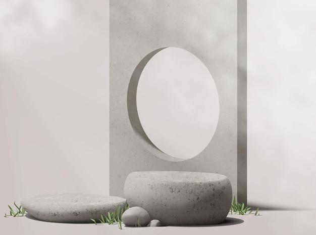 Piedistallo in pietra di ghiaia naturale realistico