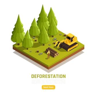 Risorse naturali conversione del legname forestale in fattorie composizione isometrica con processo di rimozione degli alberi di deforestazione