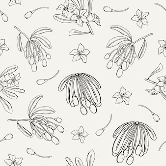 Modello senza cuciture naturale con bacche di goji, foglie e fiori disegnati a mano con linee di contorno su sfondo chiaro.