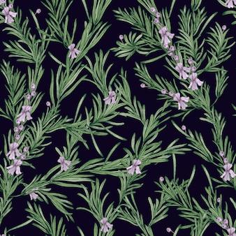 Modello senza cuciture naturale con piante di rosmarino verde e fiori che sbocciano su sfondo nero. erba selvatica disegnata a mano in stile vintage. illustrazione per carta da parati, stampa tessile, fondale.
