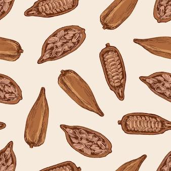Modello senza cuciture naturale con baccelli maturi o frutti dell'albero del cacao con fagioli o semi su bianco