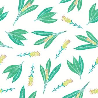 Modello senza cuciture naturale con foglie di curcuma e infiorescenze. bella pianta ayurvedica fioritura disegnata a mano su sfondo bianco. illustrazione floreale colorata per la stampa su tessuto, sullo sfondo.