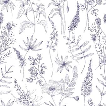 Modello naturale senza cuciture con fiori selvatici ed erbe fiorite disegnate con linee di contorno su superficie bianca