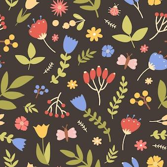 Modello senza cuciture naturale con piante in fiore selvatiche sul nero
