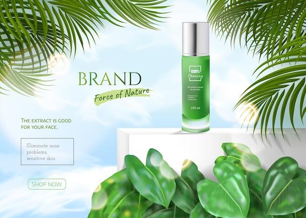 Prodotti naturali per la cura della pelle in verde con foglie estive tropicali ed effetto bokeh e cielo blu nuvola