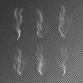 Effetto fumo o nebbia naturale su sfondo nero trasparente