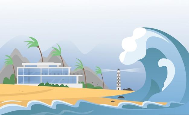 Forte disastro naturale con onde di nebbia e tsunami dall'oceano con casa, montagne, palme e faro. l'onda dello tsunami di terremoto colpisce l'illustrazione della spiaggia di sabbia.