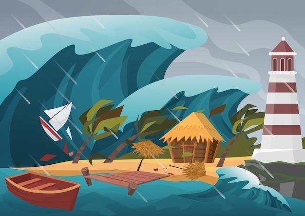 Forte disastro naturale con onde di pioggia e tsunami dall'oceano con pontile in legno, casa, palme e faro.