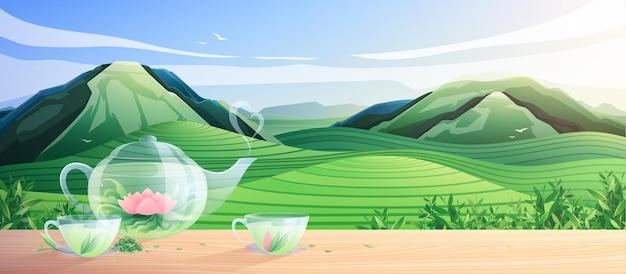 Composizione colorata nella produzione di tè naturale con utensili in vetro per la cerimonia del tè all'illustrazione piana del paesaggio naturale