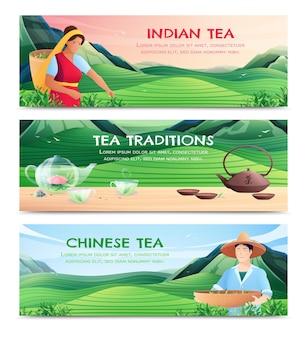 Bandiere orizzontali di produzione di tè naturale con varietà cinesi e indiane e tradizioni del tè