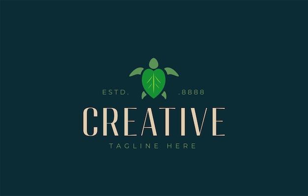 Modello di progettazione del logo con foglia di tartaruga naturale