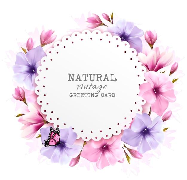 Biglietto di auguri vintage naturale con fiori colorati. vettore.